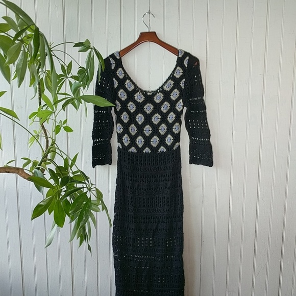 Free People Dresses & Skirts - Free People RARE black full crochet maxi dress S